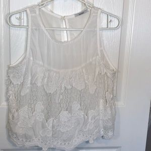 ‼️2/$20 Acemi Sexy White Crochet Crop Top size Lg